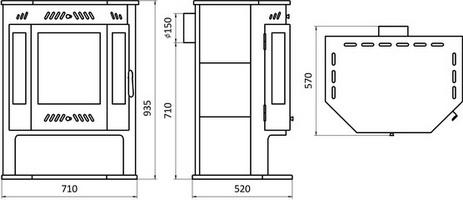 Схема и размеры печи камина Бранденбург модель Призма с плитой