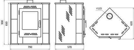 Схема и размеры Бранденбург печь камин угловой